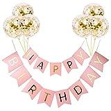 Decoraciones de pancarta de feliz cumpleaños, decoración de banderines para decoraciones de fiestas, pancarta de aluminio con 6 globos de látex dorado kits para suministros Festival boda compromiso