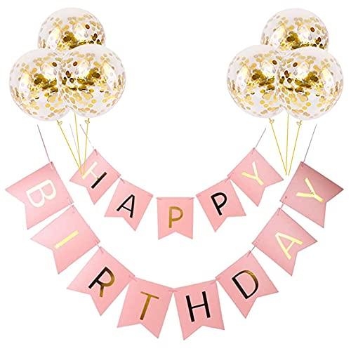 Decoraciones de pancarta de feliz cumpleaños, decoración de banderines para decoraciones de fiestas, pancarta de...