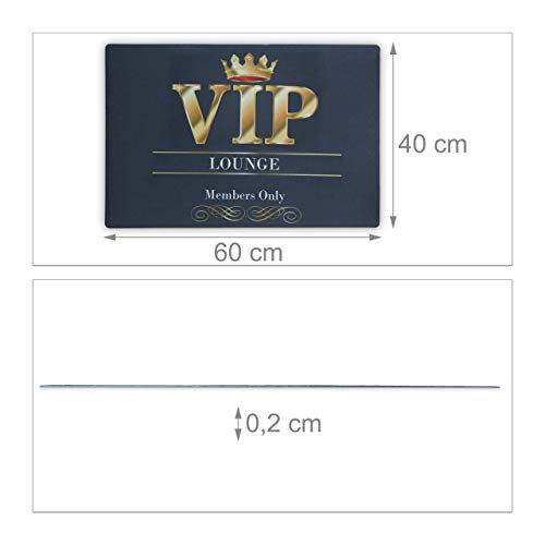 Relaxdays Felpudo Original VIP para la Entrada, Poliéster-PVC, Negro, 60 x 40 x 0.2 cm