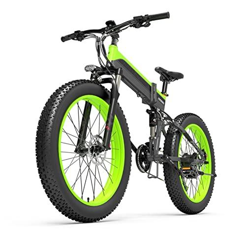 HMEI Bicicleta eléctrica Hombres 1000W Bicicleta de montaña para Adultos 26 ' Bicicleta de Nieve 48V Bicicleta eléctrica 40 km/h Ebike (Color : Verde)