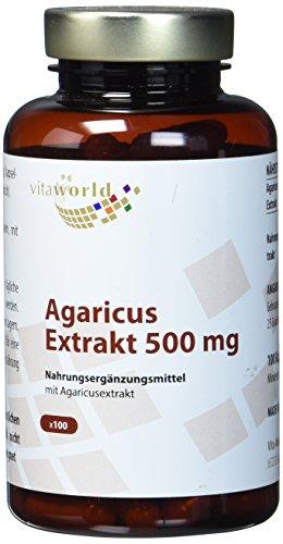 Vita World Agaricus Extrakt 500mg 100 Kapseln Apotheken Herstellung ABM Agaricus Blazei Murill Mandelpilz 20% Polysaccharide
