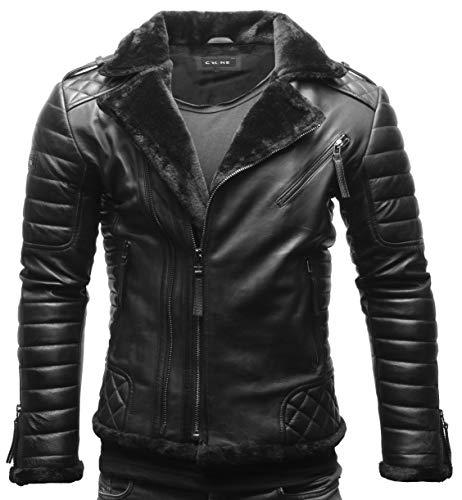 Crone Naik Herren Biker Lederjacke Echtleder Shearling Jacke mit Fellbesatz (XL, Heavy Washed Black (Rindsleder))