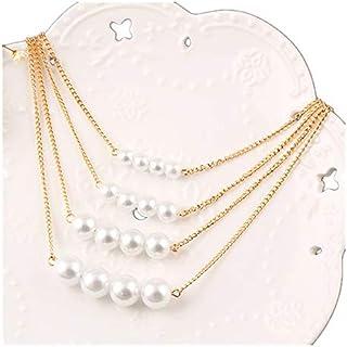 Multi Chain Triple Layer Choker Pearl Necklace for Women