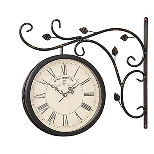 Schwarze wasserdichte Bahnhofsuhr Vintage für Garten Korridoren Veranda Bahnhof, Bahnhofsuhr Doppelseitige Hängenduhr Wanduhr Retro Vintage Clock Beige