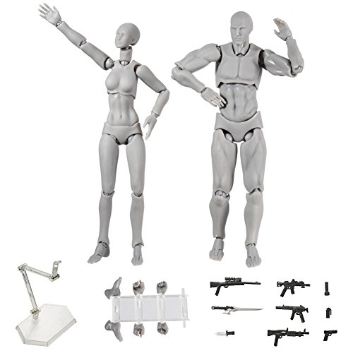 MAyouth Action Figure Modell Set, Human Mannequin Mann + Frau Action Figure Set mit Zubehör-Set, ideal zum Zeichnen, Skizzieren, Malen, Zeichnen, Zeichentrickfiguren Action