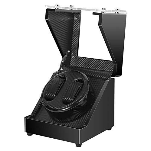 Enrollador silencioso de Reloj automático para Reloj Doble con Motor silencioso Carcasa de Madera Pintura de Piano Exterior y Espejo Templado Cajas de Puerta de Vidrio Firme