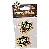UDO Schmidt GmbH Party Picks Mini Stecker 50' Geburtstag Schwarz Gold, 12 Stück, Partydeko Geburtstags-Deko Buffet Dekoration