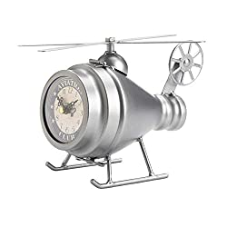 Tolbsplace Clocks Helicopter Desk Clock Aviation Vintage Design Polished Silver Finish