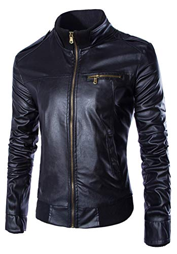 Men's Vintage Leather Jacket Faux Leather Lined Stand Collar Bomber Motorcycle Outwear (Black,X-Large)