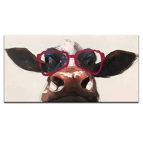 IPLST@ Tessuto Mucca Indossare Occhiali rossi Tela Pittura a olio animale a mano Decorazione della parete -20x40inch (Nessuna cornice, senza barella)