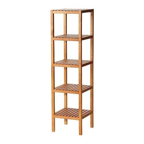 BoxLegend IKEA houten rek Molger plank met 5 legplanken - massief, gebeitst berk - 140 x 37 x 37 cm - bruin - geschikt voor badkamer en vochtige ruimtes