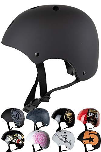 SkullCap® Casco BMX Bici y Casco Skate - Hombres Mujeres Niños y Niños, Design: Negro Dark World, Talla: S (53 – 55)