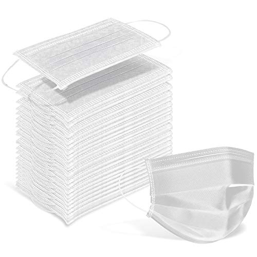 Wecolor 100 Pcs Disposable 3 Ply Earloop Face Masks, Suitable for Home, School, Office and Outdoors (White)