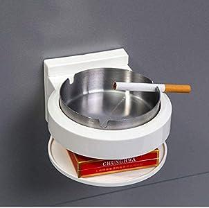 BBGSFDC Cenicero, montado en la Pared de la Manera Cenicero Cenicero Baño Gratuito de perforación Sucker-Estilo Personalidad cenicero (Color : Silver)