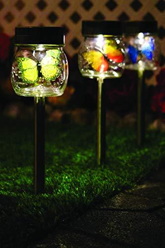 Crosslight Solar Glass Butterfly-in-a-Jar Stake Lights, 3-Pack