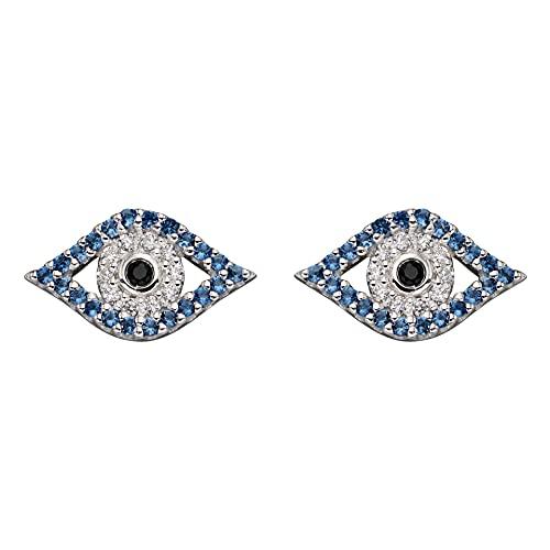 Beginnings - Pendientes de plata de ley 925 para mujer con circonita cúbica azul y transparente