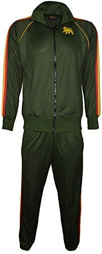 Tuta da uomo, motivo rasta, pantaloni elasticizzati in vita e disegno di Bob Marley sulla parte posteriore della felpa Olive Medium
