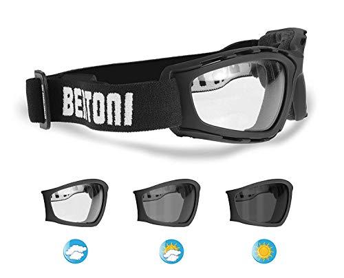 Motorrad-Sonnenbrille selbsttönend–Anti-Beschlag-Gläser –verstellbares Band –by Bertoni Italy–f120new