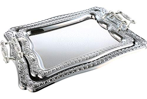 ToptanExport   Almina Hochzeitstablett 2-Teilig Serviertablett Nisan Tepsi Ceyiz Verlobungstablett Tablett Silber (Rechteckig   z1276)
