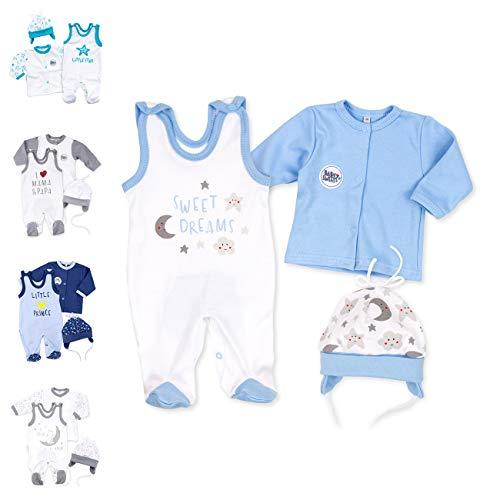Baby Sweets 3er Baby-Set mit Strampler, Shirt & Mütze für Jungen in Weiß Blau/Baby-Erstausstattung als Strampler Set im Mond-Sterne-Motiv für Neugeborene & Kleinkinder in der Größe: 1 Monat (56)