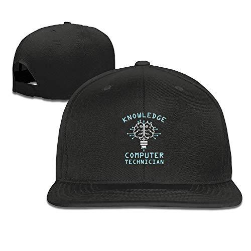 NITHG Snapback Caps für Herren, Schwarz, verstellbare Mütze, Flacher Schirm Einheitsgröße Knowledge Computer Technician3