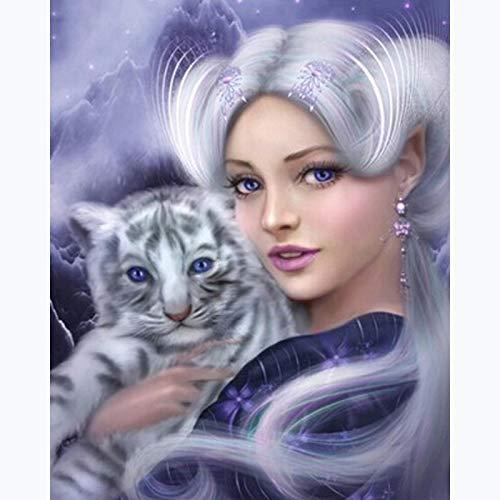 Pintura de diamante animal Tigre mujer bordado de diamantes paquete completo 3D DIY mosaico de diamantes decoración de diamantes de imitación costura 30X40CM
