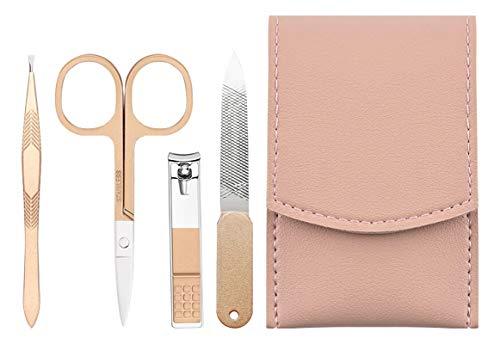 Sandarui Tagliaunghie Set, Acciaio Inox Kit Pedicure Manicure Professionale con Custodia in Pelle per Donna (Rosa Oro)