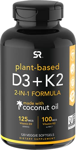 Vitamin K2 + D3 with Organic Virgin Coconut Oil | Vegan D3 (5000iu) with MK7 Vitamin K2 (100mcg) from Chickpea | Non-GMO & Vegan Certified (120 Veggie Softgels) by Sports Research