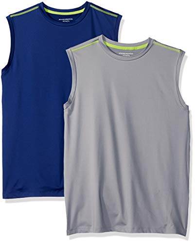 Amazon Essentials Kids Boys Active Performance Muscle Tank Tops, 2-Pack Navy/Grey, Large