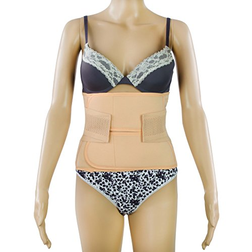 Postnatal Bauchgurt für einen flachen Bauch nach der Geburt - Atmungsaktiv - Größe L - Abdominal Elastische Bauchbandage