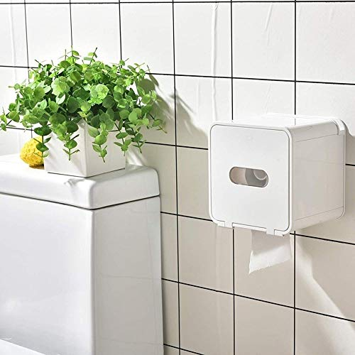 U/D Cajas de Papel higiénico Cubierto Titular de Papel higiénico Titular, montado en la Pared del Tejido dispensador (Color : Blanco, Size : 1)