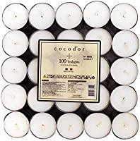 Cocod'or Scented Tealight Candles 100 Pack, Cotton Flower, 5-8 Hour Extended Burn Time, Made In Italy