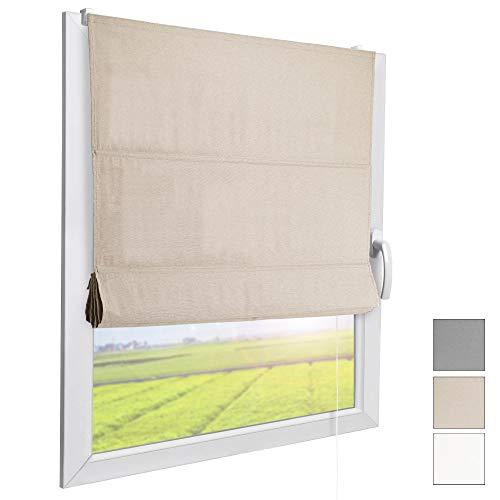 Sol Royal Raffrollo RA3 90x180 cm Stoffrollos für Fenster Natur Raffgardine ohne Bohren Stoffgardine mit Klemmträgern