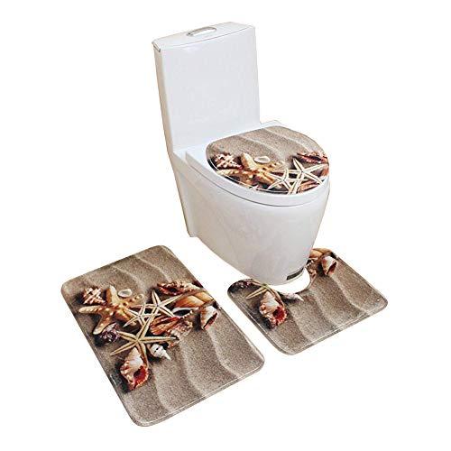 HomeYoo 3pcs Hermosa 3D Vivid Conjunto de Alfombra de baño Antideslizante Alfombrilla de baño Contour Lid Tapa de WC Alfombra, Franela Mat Establece decoración, Absorbente, Lavable (C2)