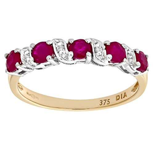 Naava Women's 9 ct Yellow Gold Ruby and Diamond Eternity Ring
