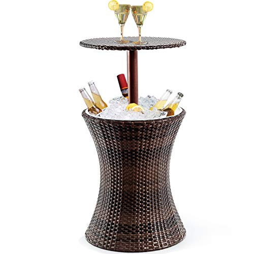 Giantex Outdoor Cool Bar Rattan Style Patio Cool Bar Table Adjustable Height Cocktail Coffee Table for Party Deck Pool Use, Brown
