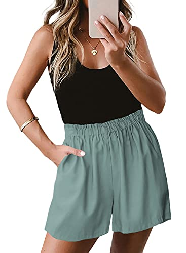 Sidefeel Womens Loose Elegant Elastic Waist Solid Pocketed Midi Rise Pocket Shorts Pants Outerwear Green Small