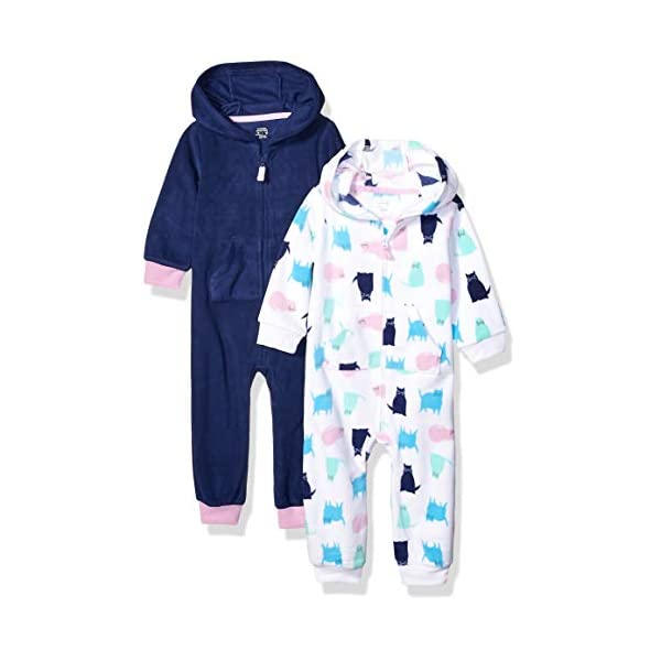 Amazon Essentials Baby Girl's 2-Pack Microfleece Hooded Coverall