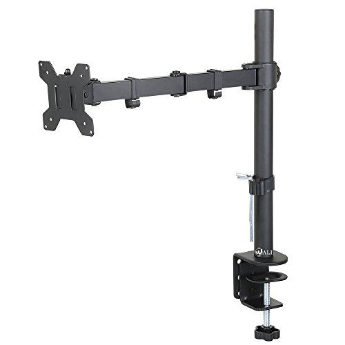 "WALI Single LCD Monitor Desk Mount Fully Adjustable Stand Fits One Screen up to 27"", 22 lbs. Weight Capacity (M001), Black"