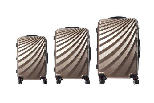 Viviana Trolley Polycarbonat Kofferset TSA Doppelrollen - Farben und Größenvielfalt (M, Champagne)
