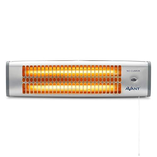 AVANT AV7555 - Estufa Eléctrica De Cuarzo De Baño 1200w. con 2 Tubos De Cuarzo, 2 Niveles De Potencia 800w Y 1200w, Interruptor Mediante Tirador, Montaje En Pared. Color Gris.