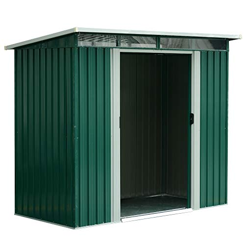 Outsunny 8ft x 6ft Outdoor Roofed Metal Garden Shed Tool Storage Green 255L x 193W x 183-205Hcm