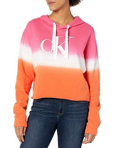 Calvin Klein Women's Dip Dye Logo Hoodie Sweatshirt, Berry Sorbet Combo, Small