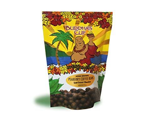 Chocolate Covered Coffee Beans by Buddha's Cup Semi-Sweet Chocolate Covered Peaberry Coffee Beans - 100% Kona Coffee - 8oz bag