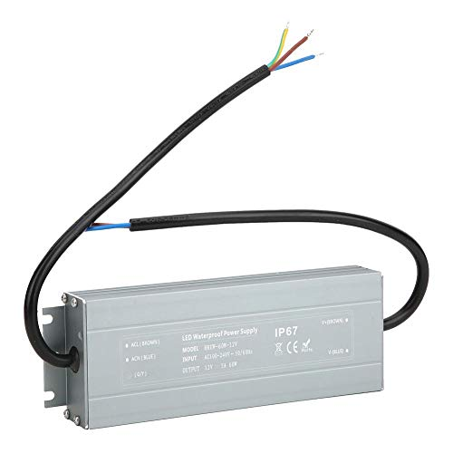 LED Driver, 60W Power Supply Waterproof IP67 Adapte, LED Driver Transformer, 100-240VAC to 12V DC Low Voltage Output for LED Light Strip, Outdoor Light