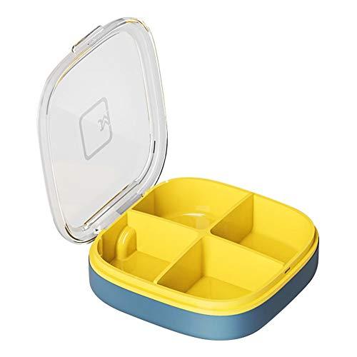 Huntgold2 Cajas de Joyería Pastillero 4 Compartimentos para Diario y Viajes Almacenamiento Azul