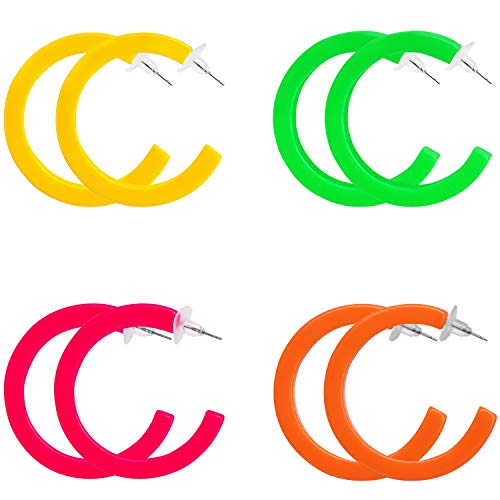 Belle Vous Retro Neon 80s Half Hoop Style Earrings (4 Pairs) - Dangle Costume Hoop Earrings for Women - Fashion Accessory for Fancy Dress Party - 4 Colours