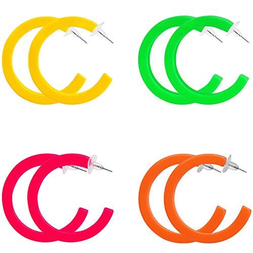 Belle Vous Damenmode Neon Retro Ohrringe (4 Paar) - Creolen Ringförmige Ohrringe für Damen - 80er Jahre Party Retro Ohrring - 4 Neon Farben – Ideal für Kostüm, Party Zubehör, Fasching Accessoires