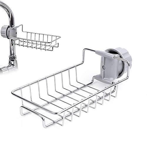 Gelrova Sink Caddy Organizador Grifo de Cocina Esponja Escurridor Caddy para lavavajillas Grifo de Acero Inoxidable Estante de Almacenamiento Colgante Estante Jabón Esponja de Almacenamiento Estante