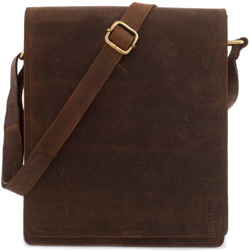 LEABAGS London Umhängetasche Schultertasche 13 Zoll Laptops aus Leder im Vintage Look, Muskat, 26x31x8cm